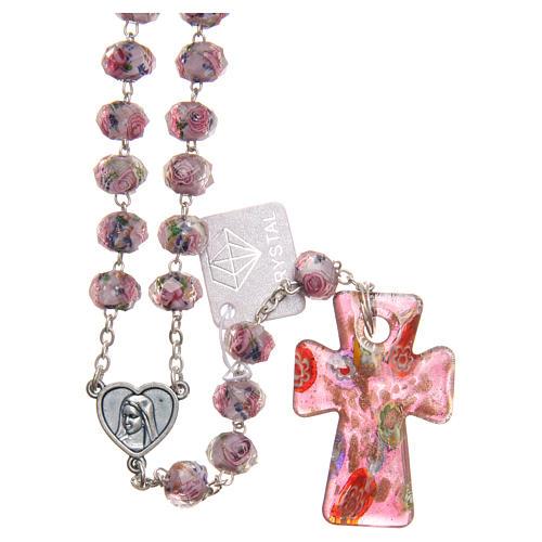 Rosario Medjugorje cruz vidrio Murano lila 1