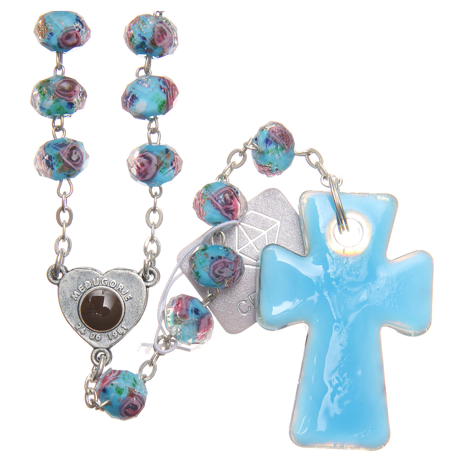 Medjugorje rosary with cross in blue Murano glass 4