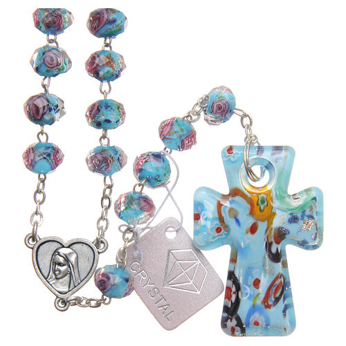 Medjugorje rosary with cross in blue Murano glass 1