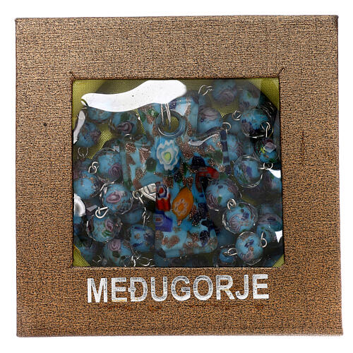 Medjugorje rosary with cross in light blue Murano glass 6