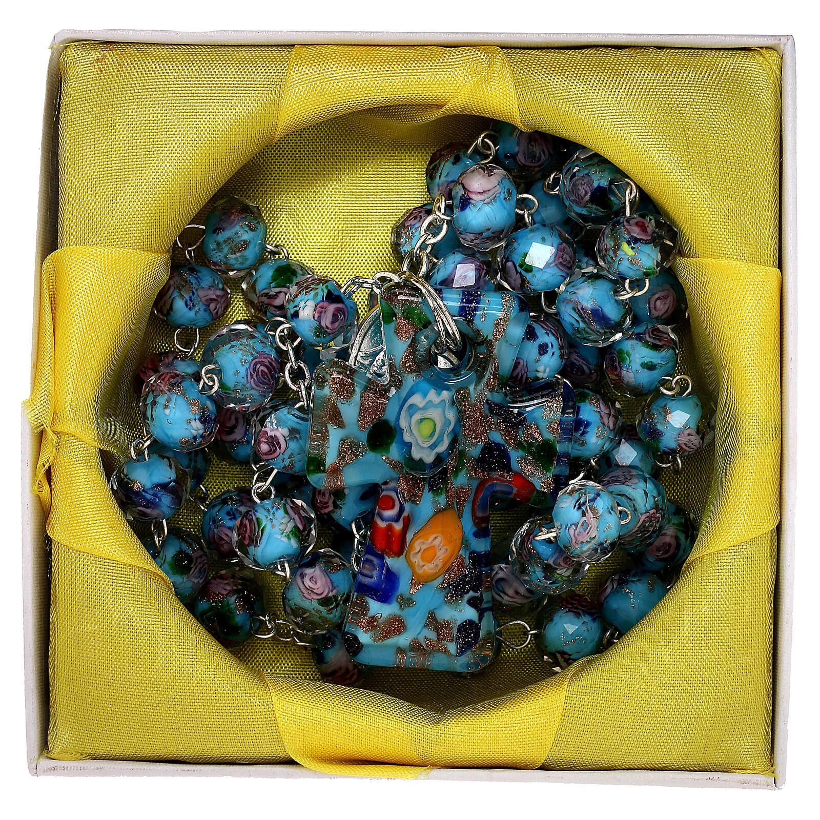 Rosario Medjugorje cruz vidrio Murano azul y rosas 4