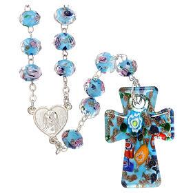 Rosario Medjugorje cruz vidrio Murano azul y rosas s1