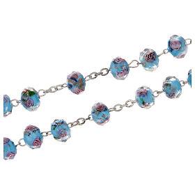 Rosario Medjugorje cruz vidrio Murano azul y rosas s3