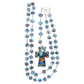 Rosario Medjugorje cruz vidrio Murano azul y rosas s4