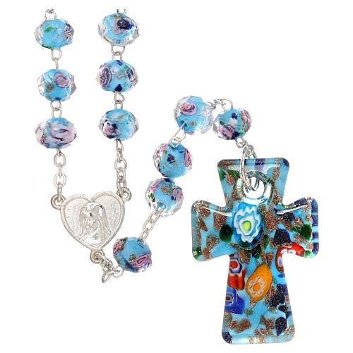 Rosario Medjugorje cruz vidrio Murano azul y rosas 1