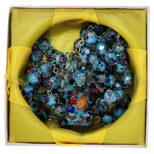 Rosario Medjugorje cruz vidrio Murano azul y rosas 5
