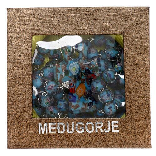 Rosario Medjugorje cruz vidrio Murano azul y rosas 6