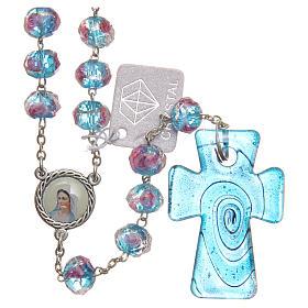 Chapelets et boîte chapelets: Chapelet Medjugorje croix verre Murano bleu clair cristal