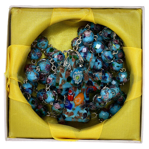 Rosario Medjugorje croce vetro Murano azzurro cristallino 5