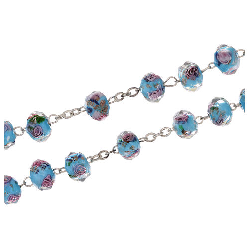 Medjugorje rosary with cross in light blue Murano glass 3