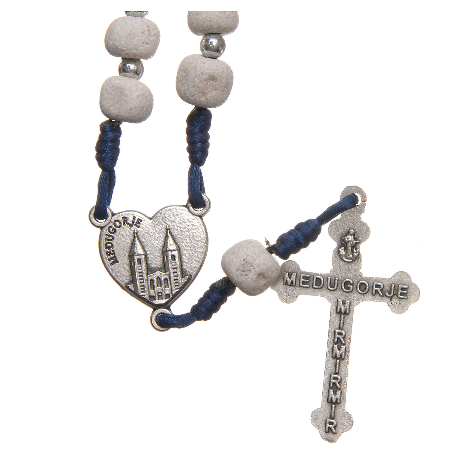 Medjugorje rosary in white stone with metal cross 4