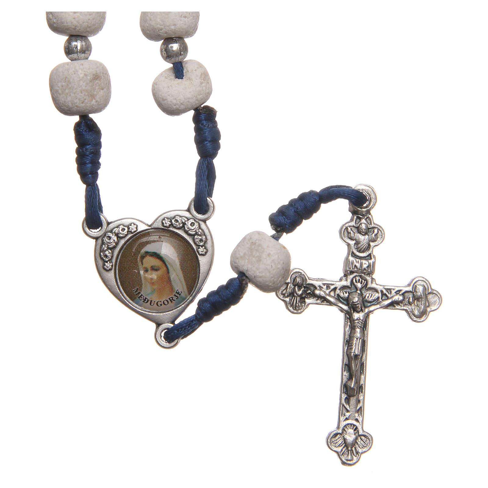 Rosario piedra blanca de Medjugorje cruz metal 4