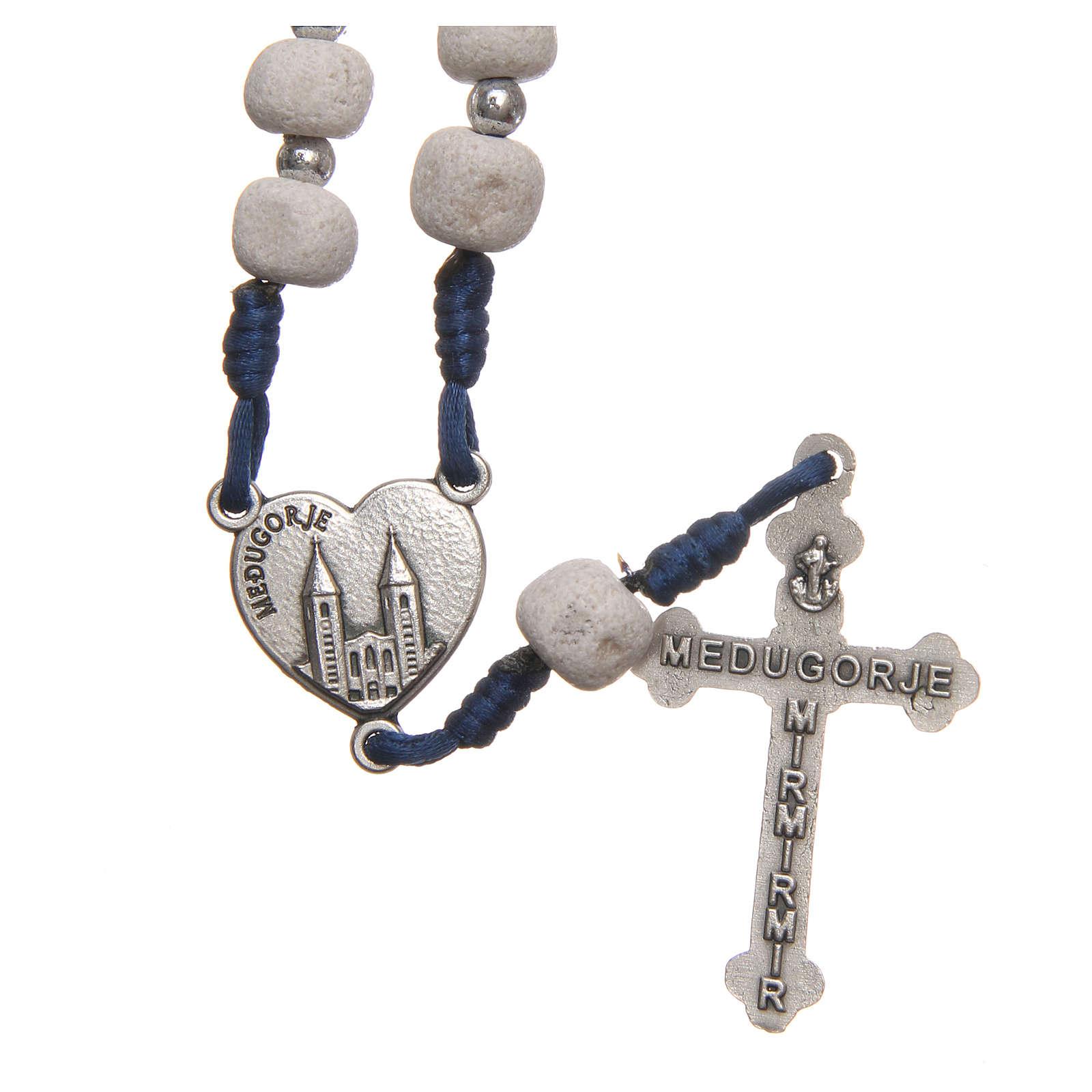 Rosario pietra bianca di Medjugorje croce metallo 4