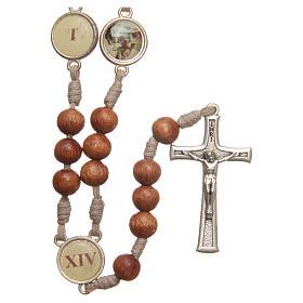 Różaniec Droga Krzyżowa z drewna oliwnego Medziugorie s1