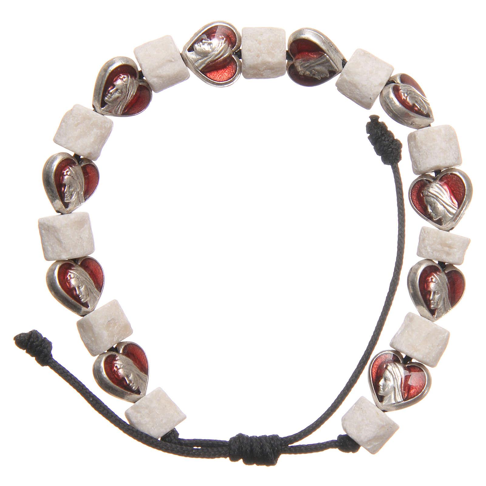 Pulsera piedra blanca Medjugorje y corazones 4