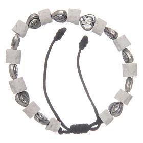 Bracelets, dizainiers: Bracelet pierre blanche Medjugorje et coeurs
