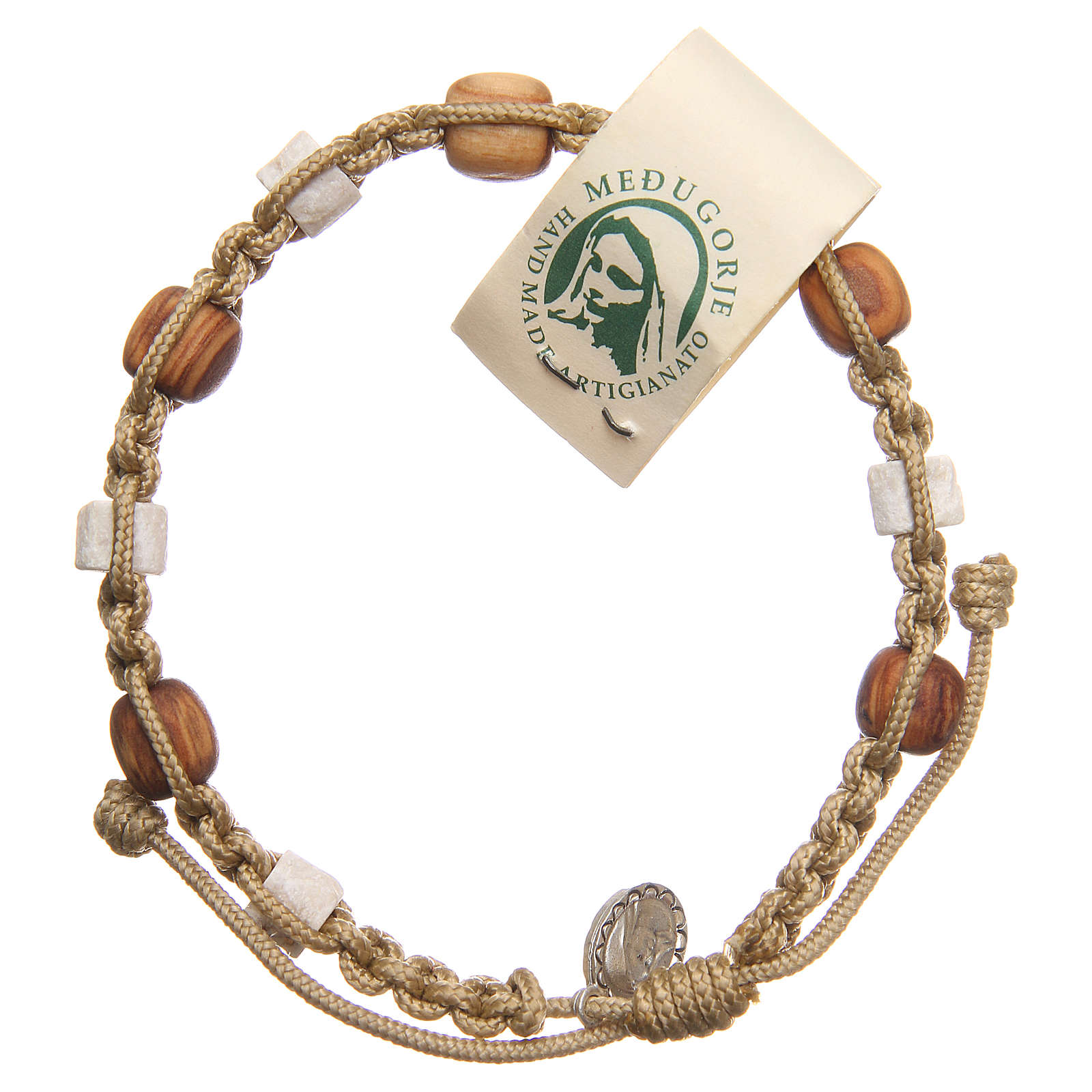 Bracelet in olive wood with grains in white Medjugorje stone and beige cord 4