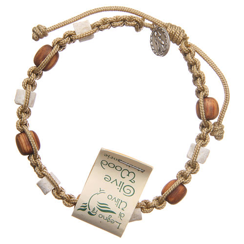 Bracelet in olive wood with grains in white Medjugorje stone and beige cord 2