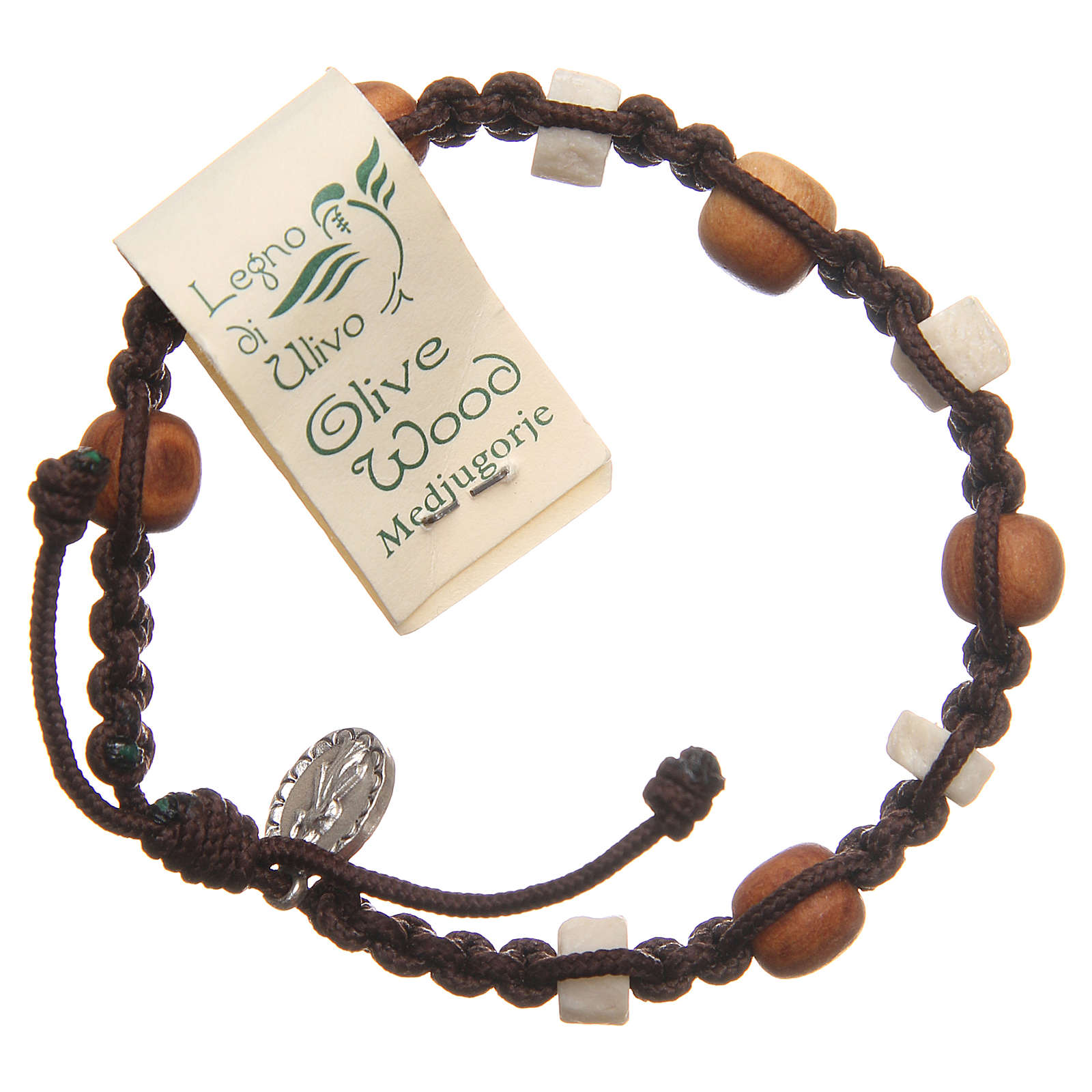 Bracelet in olive wood with grains in white Medjugorje stone and brown cord 4