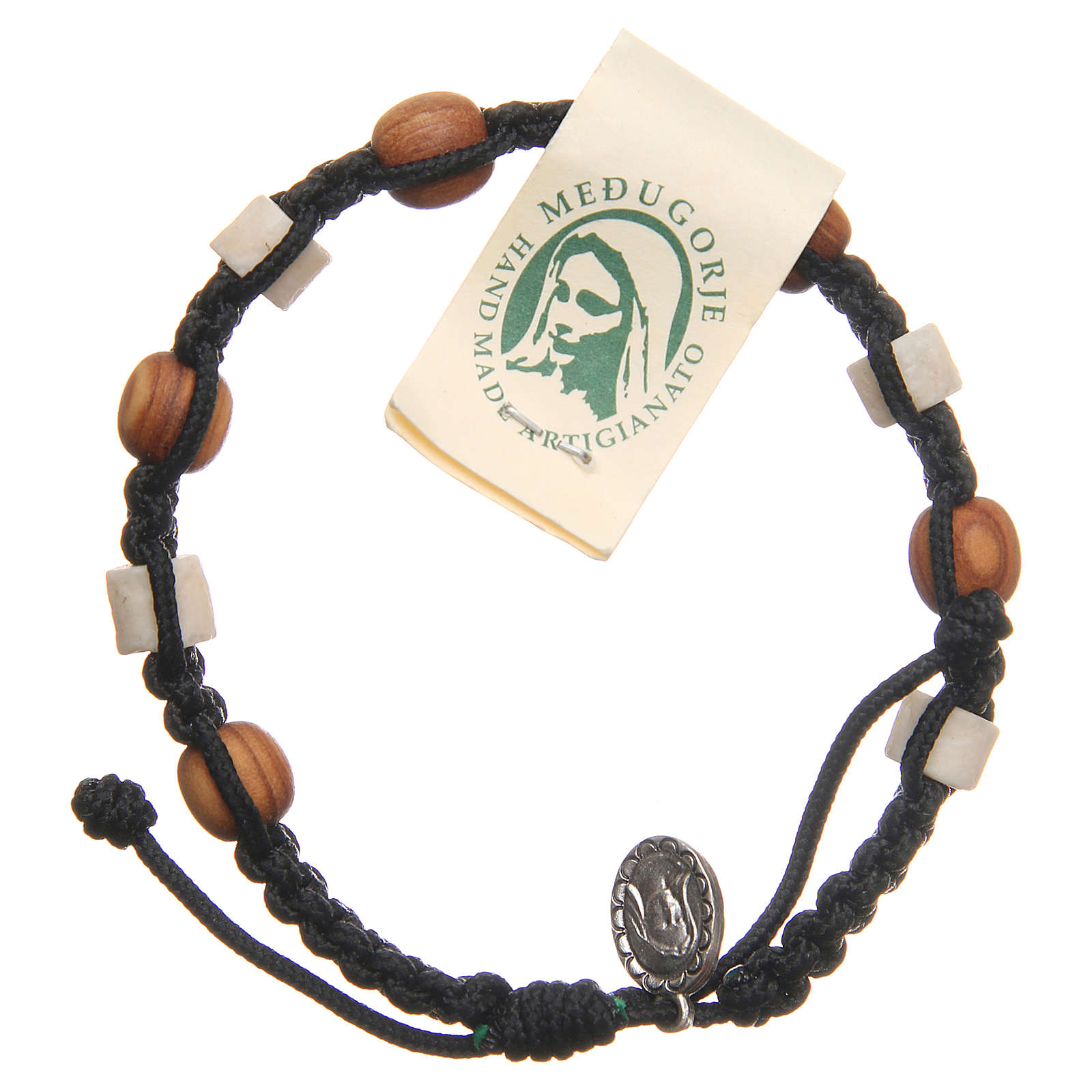 Bracelet in olive wood with grains in white Medjugorje stone and black cord 4