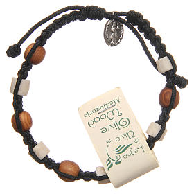 Bracelet in olive wood with grains in white Medjugorje stone and black cord s2