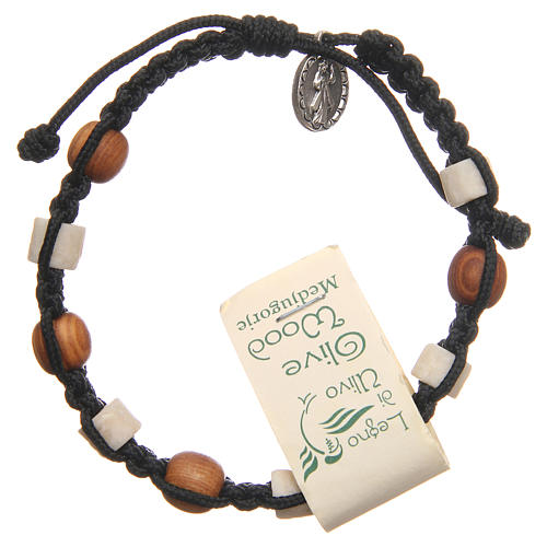 Bracelet in olive wood with grains in white Medjugorje stone and black cord 2