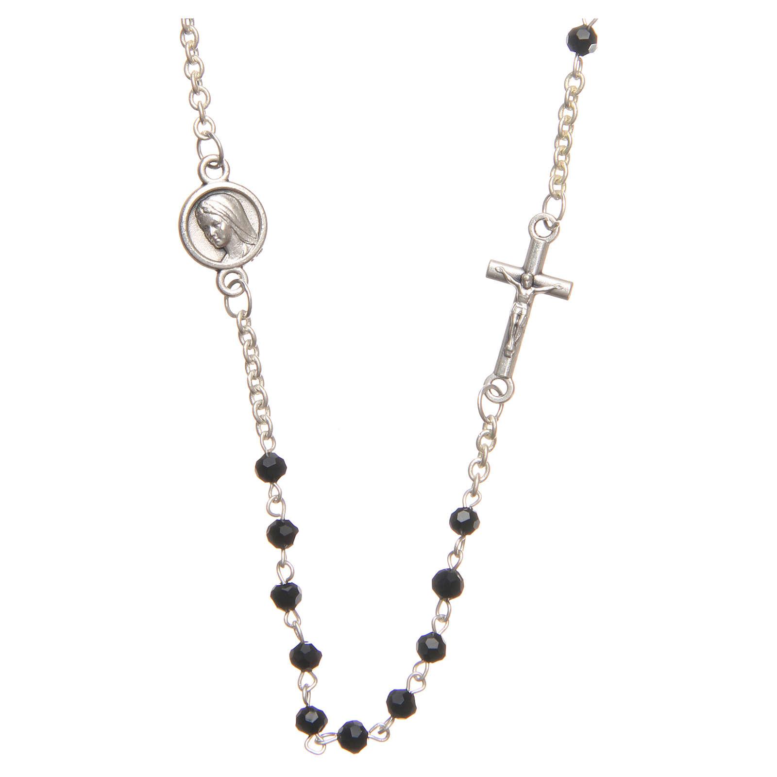 Necklace in steel with black crystal 3mm, Medjugorje 4