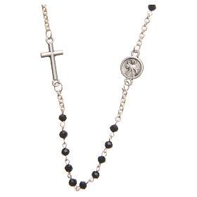 Necklace in steel with black crystal 3mm, Medjugorje s2