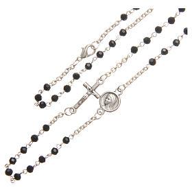 Necklace in steel with black crystal 3mm, Medjugorje s3
