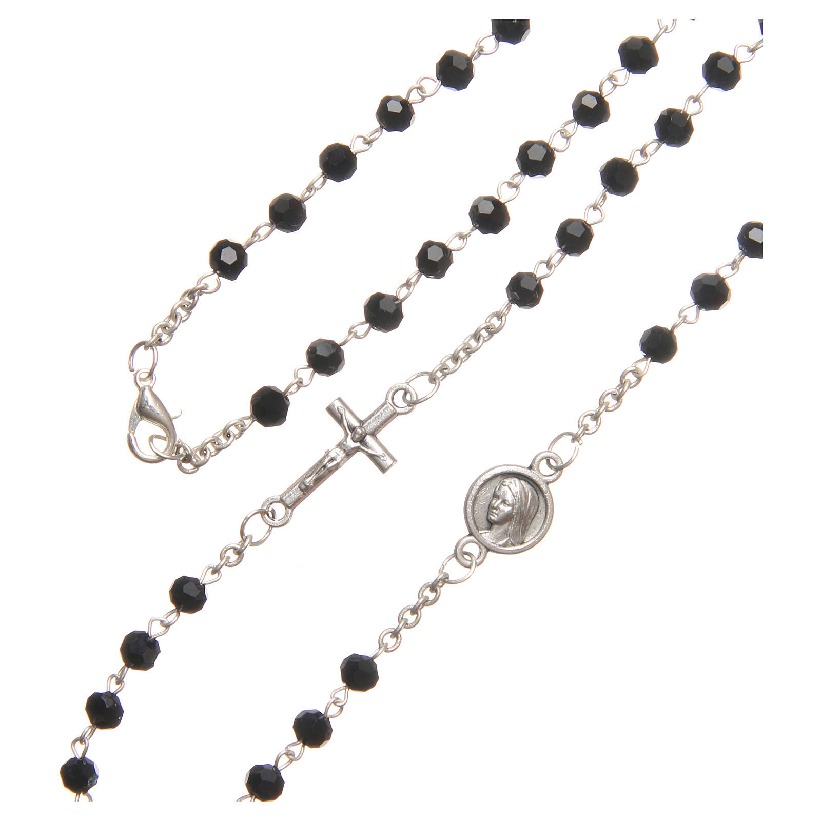 Necklace in steel with black crystal 4mm, Medjugorje 4