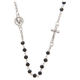 Necklace in steel with black crystal 4mm, Medjugorje s1