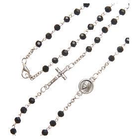 Necklace in steel with black crystal 4mm, Medjugorje s3