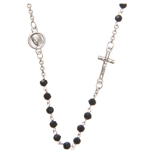 Necklace in steel with black crystal 4mm, Medjugorje 1