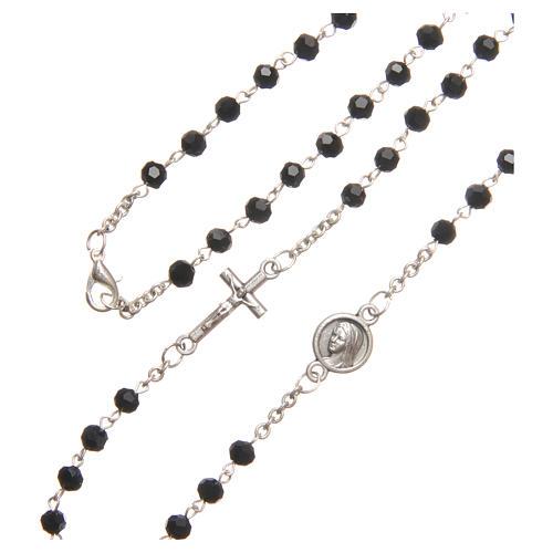 Necklace in steel with black crystal 4mm, Medjugorje 3