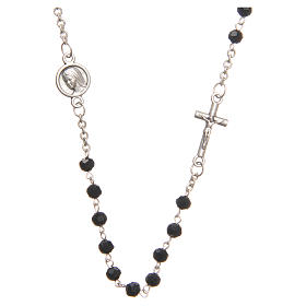 Necklace in steel with black crystal 4mm, Medjugorje s1
