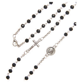 Necklace in steel with black crystal 4mm, Medjugorje s3