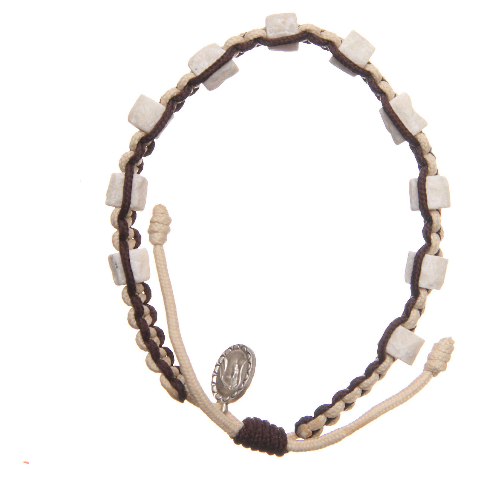 Bracciale decina Medjugorje pietra corda beige marrone 4