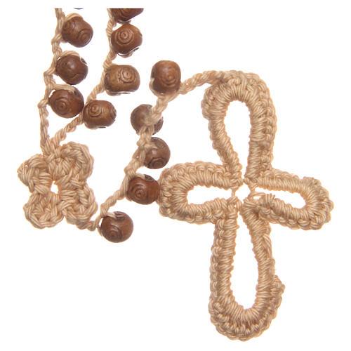 Rosario Medjugorje madera y cuerda cuentas 9 mm 1