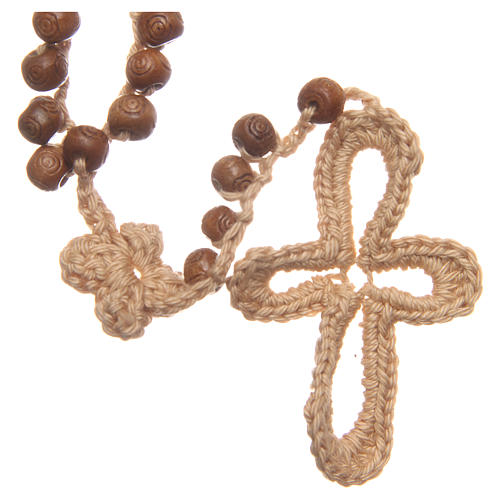 Rosario Medjugorje madera y cuerda cuentas 9 mm 2