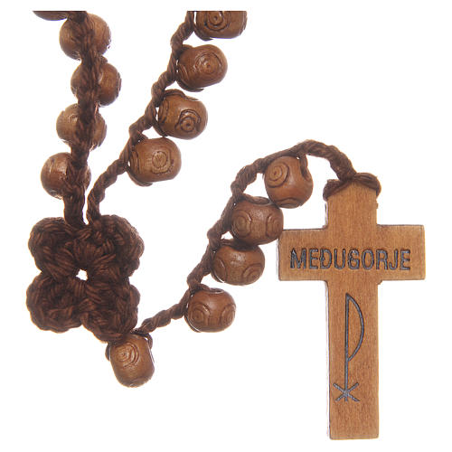Medjugorje rosary with cross in wood and grains measuring 9mm 1