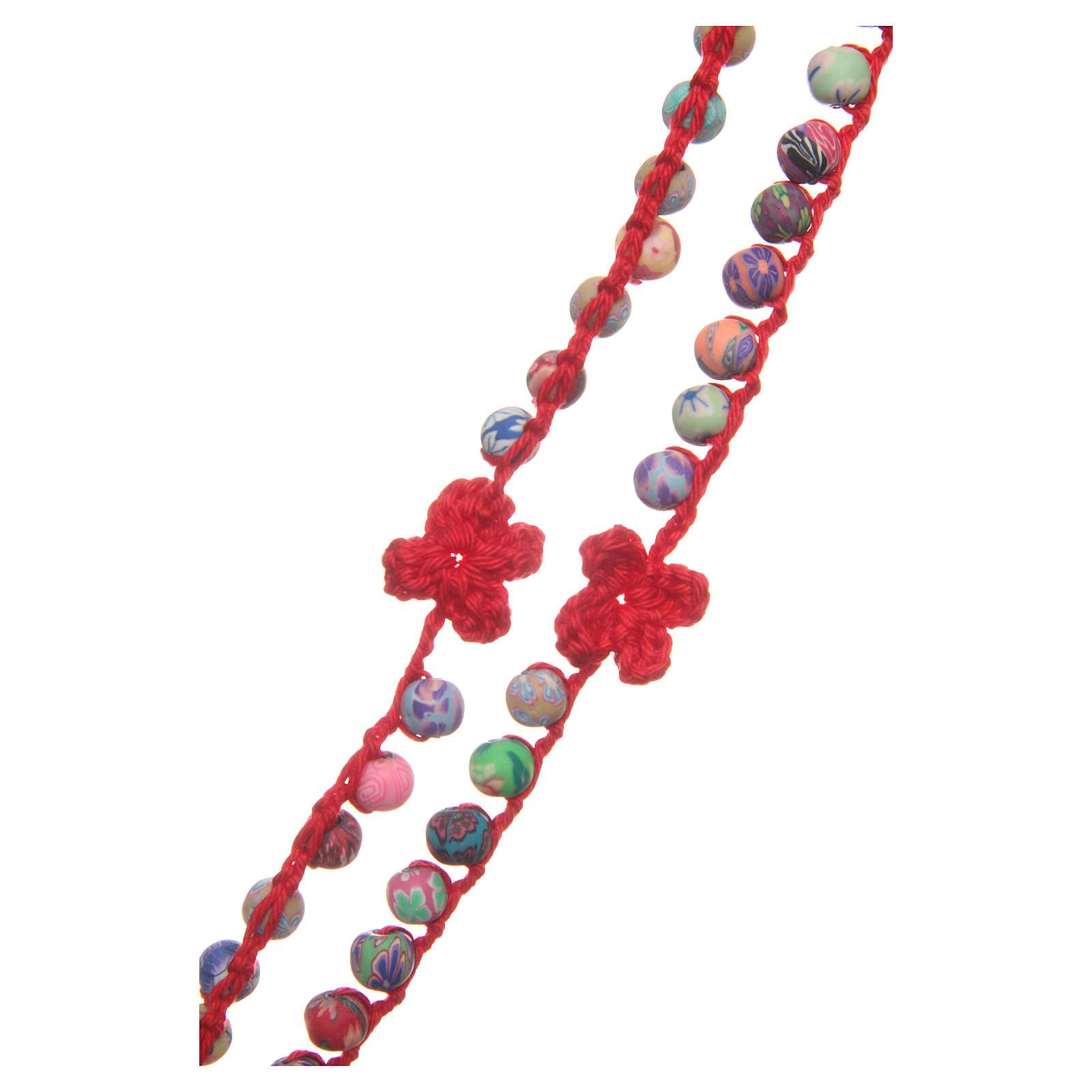 Rosario Medjugorje fimo e corda rossa 4