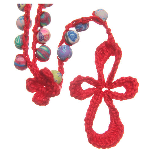 Medjugorje rosary in fimo and red cord 1