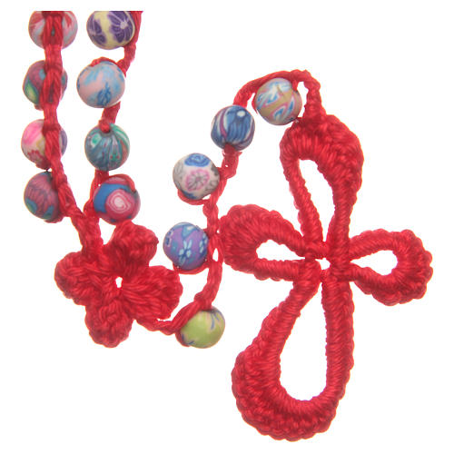 Medjugorje rosary in fimo and red cord 2