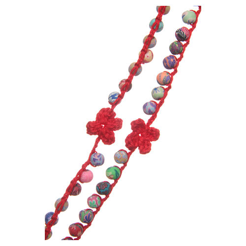 Medjugorje rosary in fimo and red cord 3