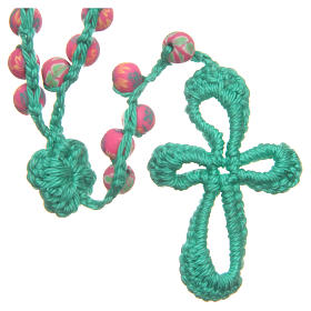 Medjugorje rosary in fimo and green cord s2