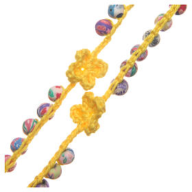 Medjugorje rosary in fimo and yellow cord s3