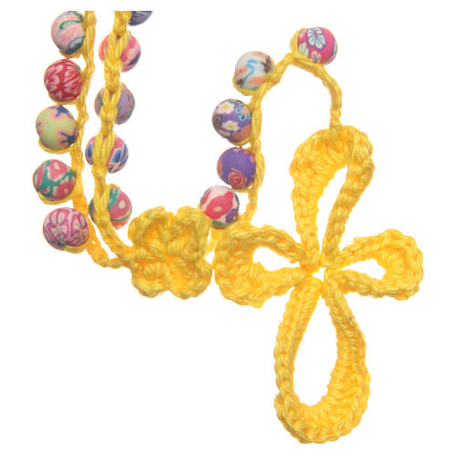 Medjugorje rosary in fimo and yellow cord 1