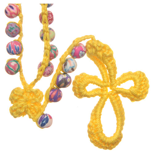 Medjugorje rosary in fimo and yellow cord 2