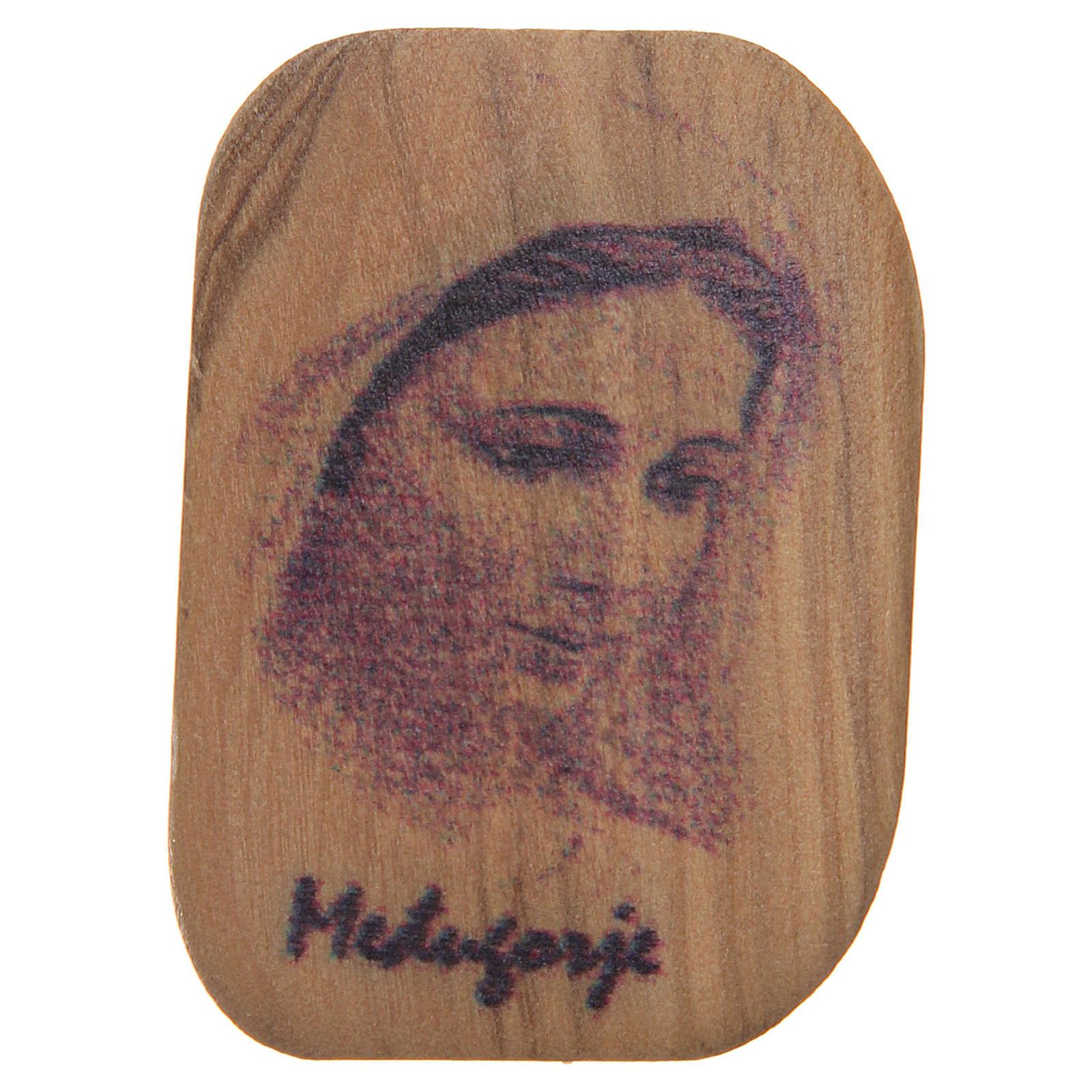 Calamita legno ulivo Madonna Medjugorje 4,2x3 cm 4