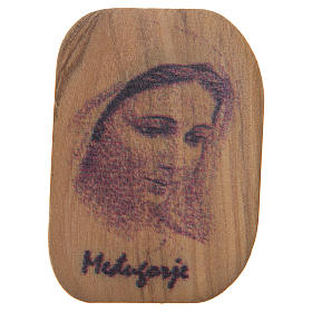 Calamita legno ulivo Madonna Medjugorje 4,2x3 cm s1